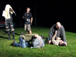 """On Location: Marc and Andrew Roth """"grapple"""" in a scene from """"Aversion"""""""