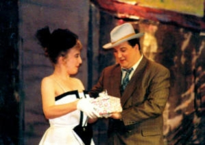 """On stage as Nathan Detroit in """"Guys and Dolls"""""""